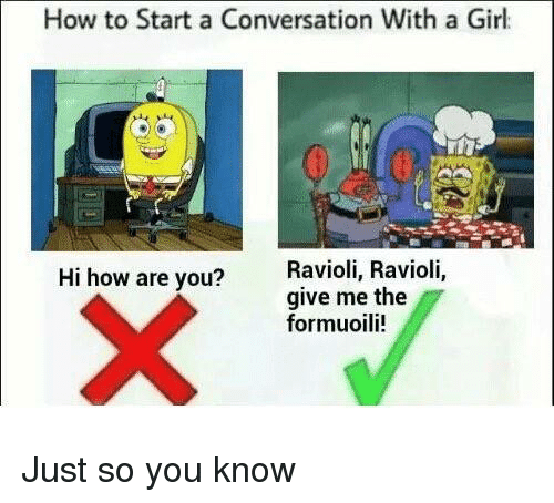Starting A Conversation With A Girl: How to Start a Conversation With a Girl  Hi how are you?  Ravioli, Ravioli,  give me the  formuoili! Just so you know