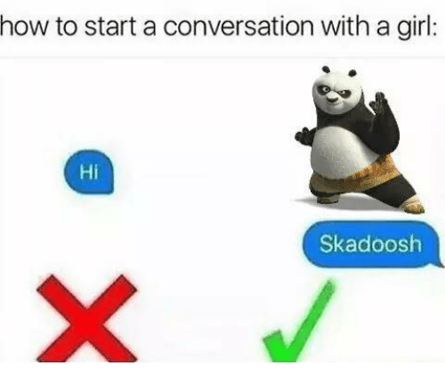 Starting A Conversation With A Girl: how to start a conversation with a girl  Hi  Skadoosh