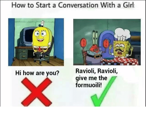 Starting A Conversation With A Girl: How to Start a Conversation With a Girl  Ravioli, Ravioli,  Hi how are you?  give me the  formuoili!