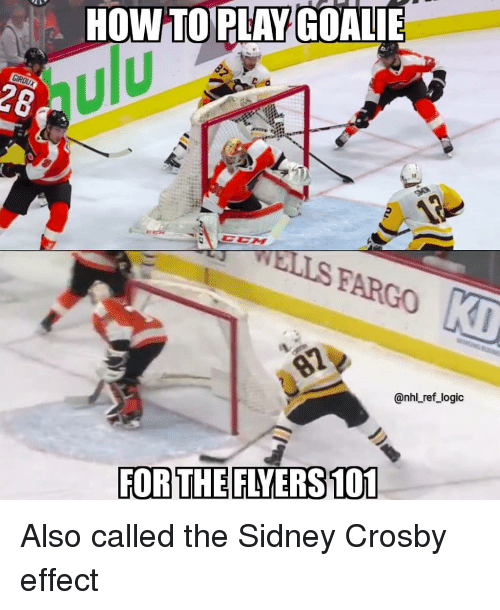 Logic, Memes, and National Hockey League (NHL): HOW TOPLAY GOALIE  ulu  28  WELLS FARGO  @nhl ref_logic  FOR THE FLYERS 101 Also called the Sidney Crosby effect