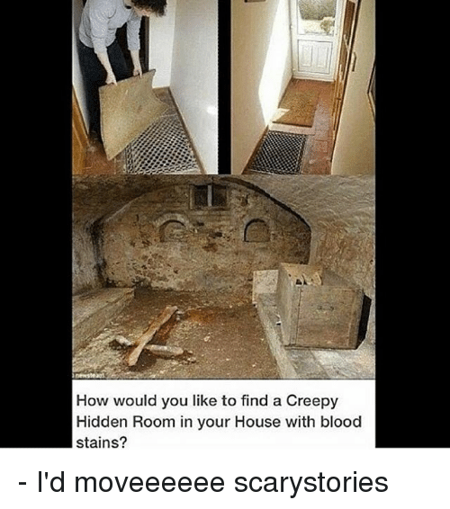 hiddens: How would you like to find a Creepy  Hidden Room in your House with blood  stains? - I'd moveeeeee scarystories
