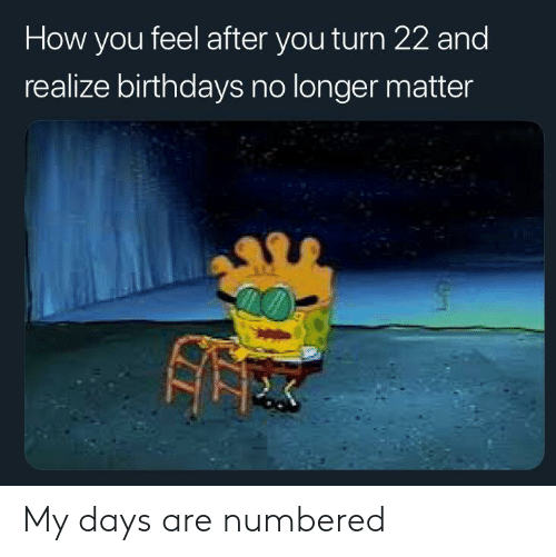 SpongeBob, How, and You: How you feel after you turn 22 and  realize birthdays no longer matter My days are numbered