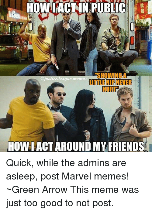 League Meme: HOWL ACT IN PUBLIC  ERSHOWINGLA  justice league memes  LITTLE NIP NEVER  HOWIACT AROUND MY FRIENDS Quick, while the admins are asleep, post Marvel memes! ~Green Arrow This meme was just too good to not post.