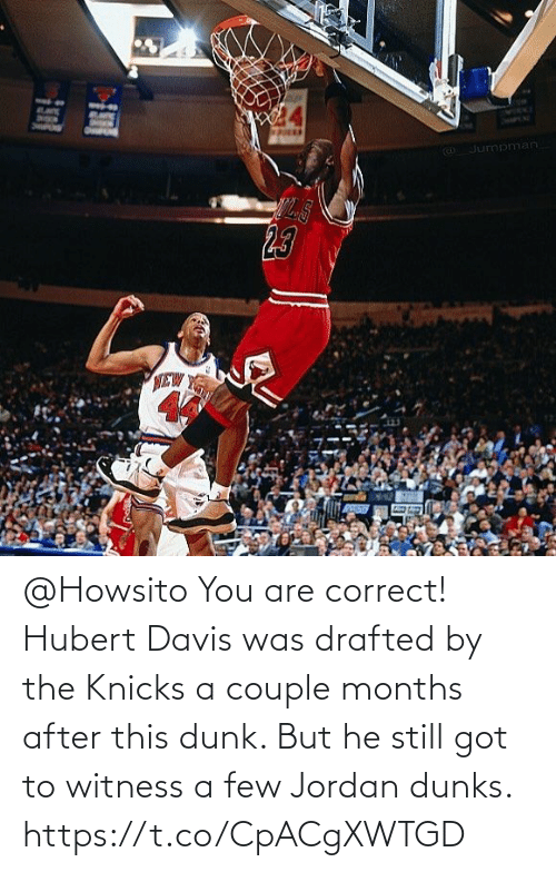 davis: @Howsito You are correct! Hubert Davis was drafted by the Knicks a couple months after this dunk.   But he still got to witness a few Jordan dunks. https://t.co/CpACgXWTGD