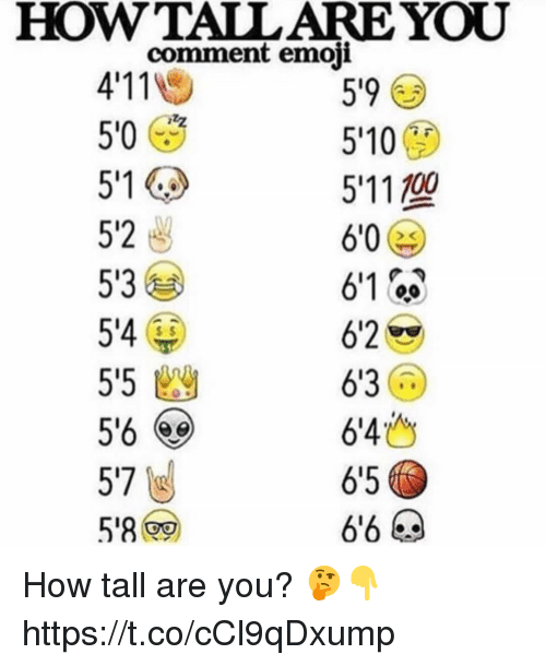 Calvin Johnson, Emoji, and How: HOWTALL ARE YOU  comment emoji  4'11  50 (  59  5'10  5'1 1700  5'2  5'3  54  5'5幽  5% (eg  57  61 00  6'2  6'3  6'4  6'5  s $ How tall are you? 🤔👇 https://t.co/cCl9qDxump