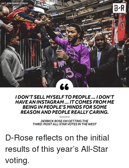All Star, Derrick Rose, and Instagram: HT JON KRAWCZYNSKI  B R  I DON'T SELL MYSELF TO PEOPLE... I DON'T  HAVE AN INSTAGRAM... IT COMES FROMME  BEING IN PEOPLE'S MINDS FOR SOME  REASON AND PEOPLE REALLY CARING.  DERRICK ROSE ON GETTING THE  THIRD-MOST ALL-STAR VOTES IN THE WEST D-Rose reflects on the initial results of this year's All-Star voting.