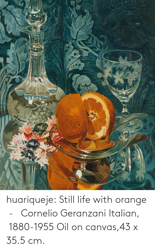oil: huariqueje:  Still life with orange  -   Cornelio Geranzani  Italian,  1880-1955 Oil on canvas,43 x 35.5 cm.