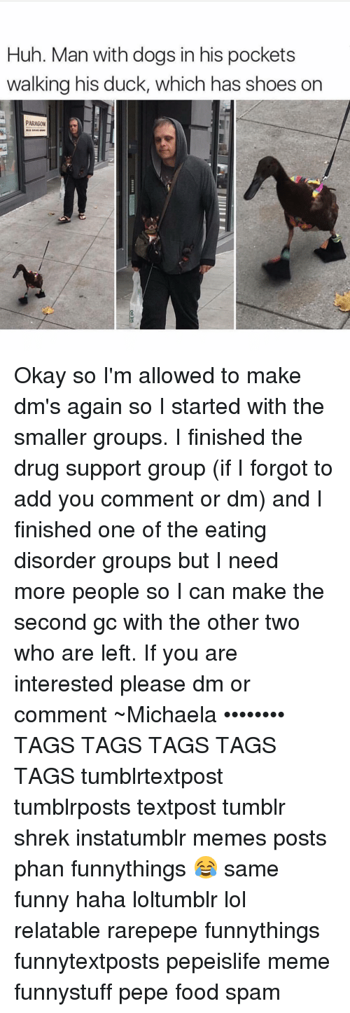 Memes, 🤖, and Paragon: Huh. Man with dogs in his pockets  walking his duck, which has shoes on  PARAGON Okay so I'm allowed to make dm's again so I started with the smaller groups. I finished the drug support group (if I forgot to add you comment or dm) and I finished one of the eating disorder groups but I need more people so I can make the second gc with the other two who are left. If you are interested please dm or comment ~Michaela •••••••• TAGS TAGS TAGS TAGS TAGS tumblrtextpost tumblrposts textpost tumblr shrek instatumblr memes posts phan funnythings 😂 same funny haha loltumblr lol relatable rarepepe funnythings funnytextposts pepeislife meme funnystuff pepe food spam