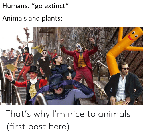 First Post: Humans: *go extinct*  Animals and plants: That's why I'm nice to animals (first post here)