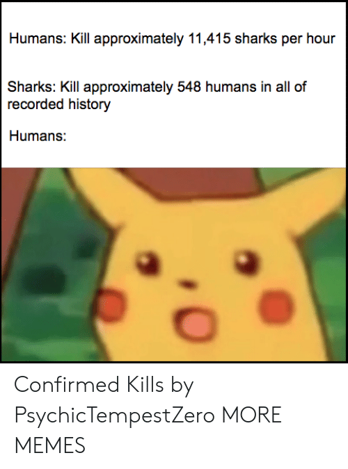 Dank, Memes, and Target: Humans: Kill approximately 11,415 sharks per hour  Sharks: Kill approximately 548 humans in all of  recorded history  Humans: Confirmed Kills by PsychicTempestZero MORE MEMES