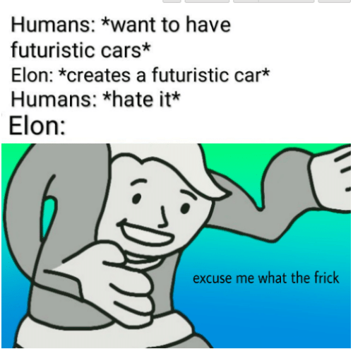 cars: Humans: *want to have  futuristic cars*  Elon: *creates a futuristic car*  Humans: *hate it*  Elon:  excuse me what the frick