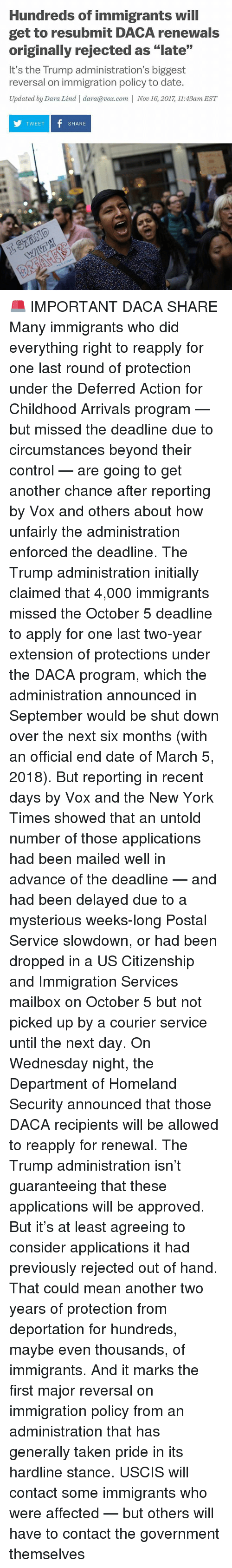 """Memes, New York, and Taken: Hundreds of immigrants will  get to resubmit DACA renewals  originally rejected as """"late""""  It's the Trump administration's biggest  reversal on immigration policy to date.  Updated by Dara Lind 