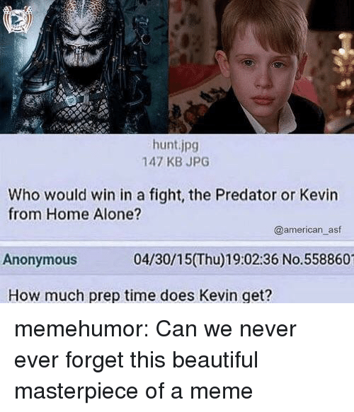 Being Alone, Beautiful, and Home Alone: hunt.jpg  147 KB JPG  Who would win in a fight, the Predator or Kevin  from Home Alone?  @american_asf  Anonymous  04/30/15(Thu)19:02:36 No.558860  How much prep time does Kevin get? memehumor:  Can we never ever forget this beautiful masterpiece of a meme
