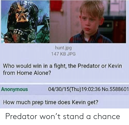 prep: hunt.jpg  147 KB JPG  Who would win in a fight, the Predator or Kevin  from Home Alone?  04/30/15(Thu)19:02:36 No.5588601  Anonymous  How much prep time does Kevin get? Predator won't stand a chance