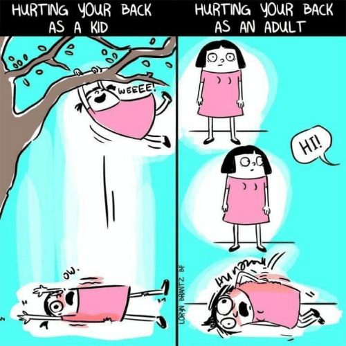 Back, Adult, and Kid: HURTING yOuR BACK HURTNG youR BACK  AS A KID  AS AN ADULT  0  O,Q