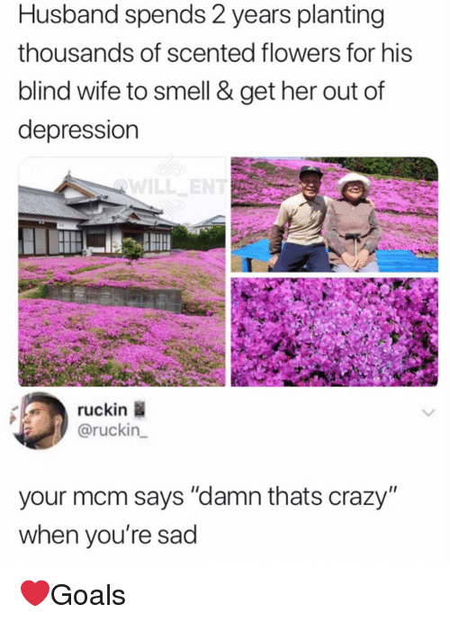"""Crazy, Memes, and Smell: Husband spends 2 years planting  thousands of scented flowers for his  blind wife to smell & get her out of  depression  ruckin  @ruckin  your mcm says """"damn thats crazy""""  when you're sad ❤️Goals"""