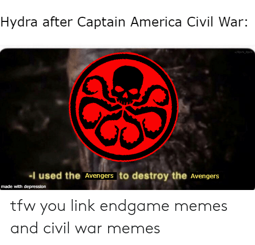 America, Captain America: Civil War, and Memes: Hydra after Captain America Civil War:  -I used the Avengers to destroy the Avengers  made with depression tfw you link endgame memes and civil war memes