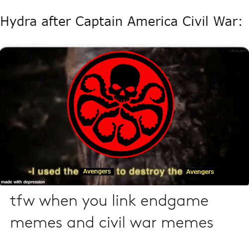 America, Captain America: Civil War, and Memes: Hydra after Captain America Civil War:  -I used the Avengers to destroy the Avengers  made with depression tfw when you link endgame memes and civil war memes