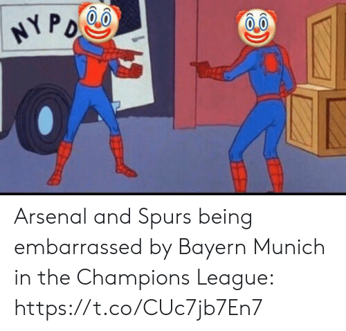 Arsenal, Soccer, and Champions League: HYPO Arsenal and Spurs being embarrassed by Bayern Munich in the Champions League: https://t.co/CUc7jb7En7