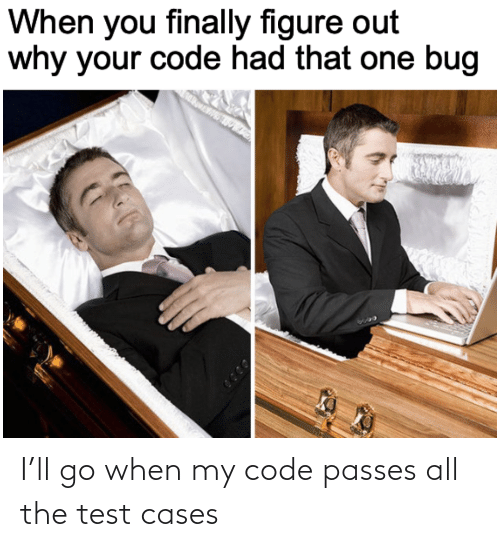 Test: I'll go when my code passes all the test cases