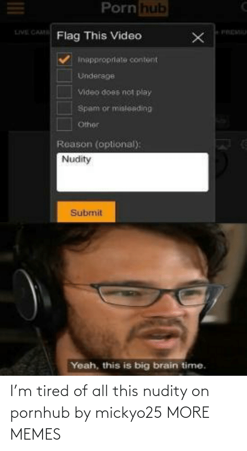 All This: I'm tired of all this nudity on pornhub by mickyo25 MORE MEMES
