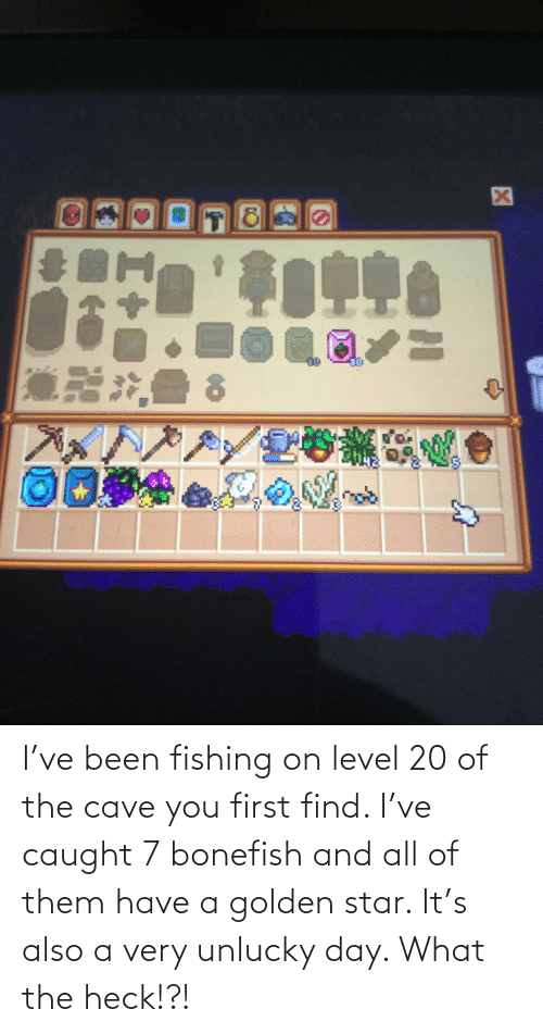 the cave: I've been fishing on level 20 of the cave you first find. I've caught 7 bonefish and all of them have a golden star. It's also a very unlucky day. What the heck!?!