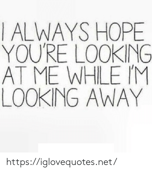 Hope, Net, and Looking: I ALWAYS HOPE  YOU'RE LOOKING  AT ME WHLE IM  LOOKING AWAY https://iglovequotes.net/