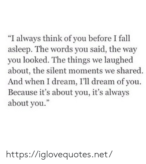 "Fall, Net, and Dream: ""I always think of you before I fall  asleep. The words you said, the way  you looked. The things we laughed  about, the silent moments we shared.  And when I dream, I'll dream of you  Because it's about you, it's always  about you."" https://iglovequotes.net/"