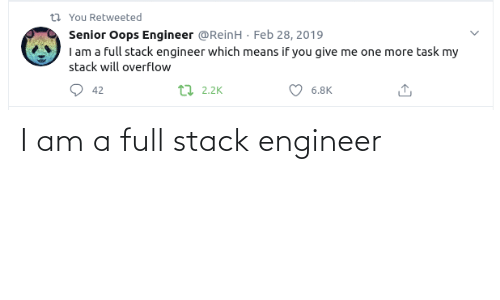I Am A: I am a full stack engineer