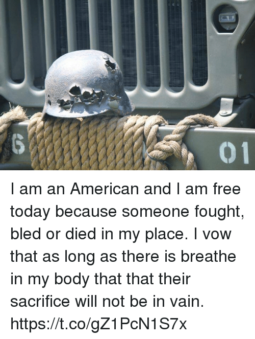 I Am Free: I am an American and I am free today because someone fought, bled or died in my place. I vow that as long as there is breathe in my body that that their sacrifice will not be in vain. https://t.co/gZ1PcN1S7x