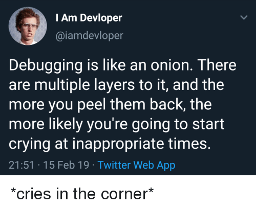 Crying, Twitter, and Onion: I Am Devloper  @iamdevloper  Debugging is like an onion. There  are multiple layers to it, and the  more you peel them back, the  more likely you're going to start  crying at inappropriate times  21:51 15 Feb 19 Twitter Web App *cries in the corner*