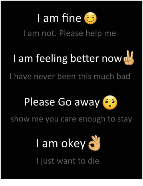 Memes, Help, and Never: I am fine  I am not. Please help me  I am feeling better now  I have never been this much ba  Please Go away  show me you care enough to stay  l am okey  I just want to die