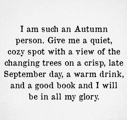 Book, Good, and Quiet: I am such an Autumn  person. Give me a quiet,  cozy spot with a view of the  changing trees on a crisp, late  September day, a warm drink,  and a good book and I will  be in all my glory.