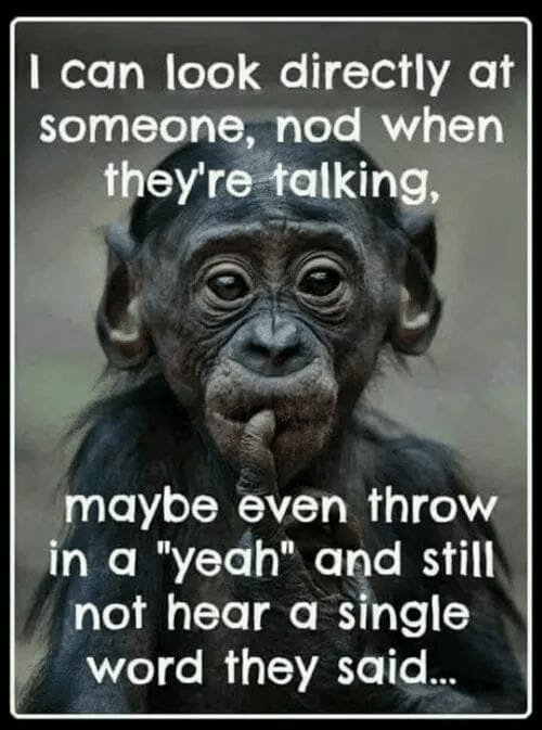 """nod: I can look directly at  someone, nod when  they're talking,  maybe even throw  in a """"yeah"""" and still  not hear a single  word they said"""