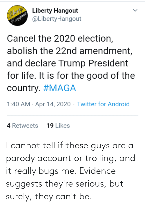 Trolling: I cannot tell if these guys are a parody account or trolling, and it really bugs me. Evidence suggests they're serious, but surely, they can't be.
