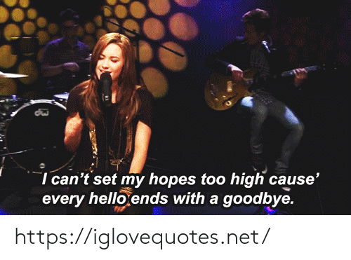Too High: I can't set my hopes too high cause'  every hello ends with a goodbye. https://iglovequotes.net/