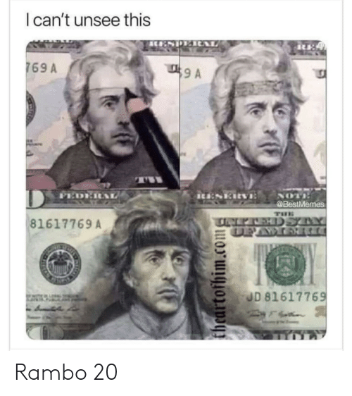 Cant Unsee: I can't unsee this  T A  769 A  T  PEDE  iu:SERVE  NOT  @BestMemes  THE  TINEPAEHDSYY  DEAWOR  81617769A  JD 81617769  theartofhim.com Rambo 20