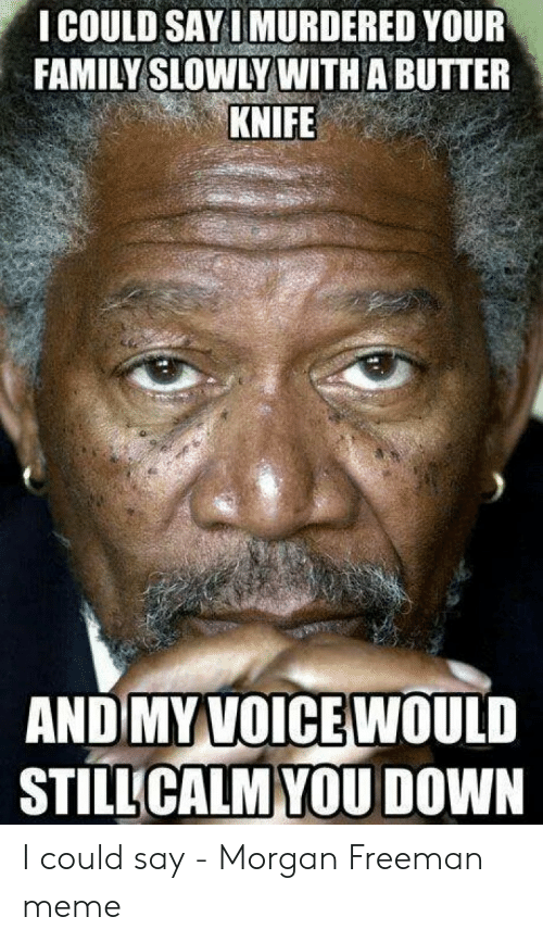 How Do You Say Meme: I COULD SAYIMURDERED YOUR  FAMILY SLOWLY WITH A BUTTER  KNIFE  AND MYVOICEWOULD  STİLUCALM-YOU DOWN I could say - Morgan Freeman meme