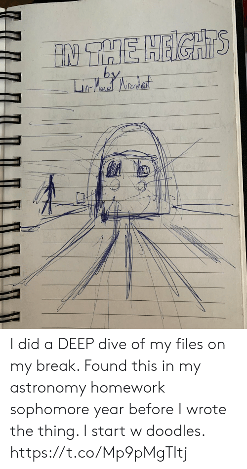 Memes, Break, and Homework: I did a DEEP dive of my files on my break. Found this in my astronomy homework sophomore year before I wrote the thing. I start w doodles. https://t.co/Mp9pMgTItj