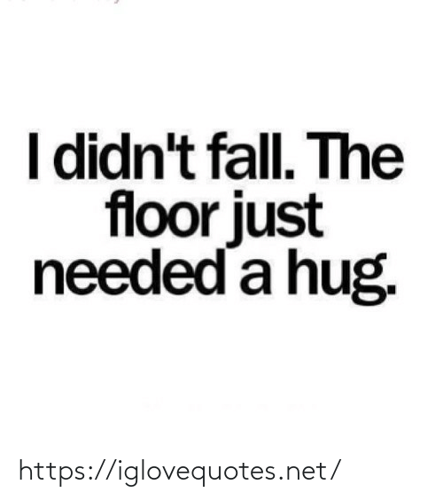 needed: I didn't fall. The  floor just  needed a hug. https://iglovequotes.net/