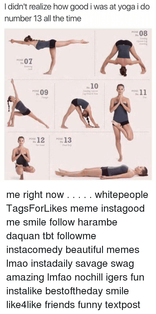 Harambism: I didn't realize how good i was at yoga i do  number 13 all the time  08  POSE  POSE  07  10  09  POSE  11  12  POSE  13  POSE  No me right now . . . . . whitepeople TagsForLikes meme instagood me smile follow harambe daquan tbt followme instacomedy beautiful memes lmao instadaily savage swag amazing lmfao nochill igers fun instalike bestoftheday smile like4like friends funny textpost