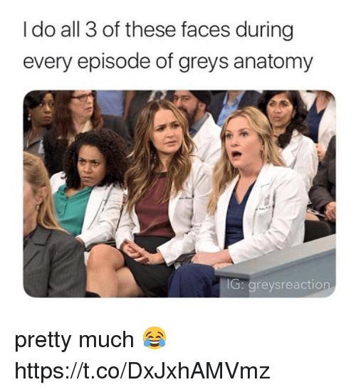 Memes, Grey's Anatomy, and 🤖: I do all 3 of these faces during  every episode of greys anatomy  G: greysreaction pretty much 😂 https://t.co/DxJxhAMVmz