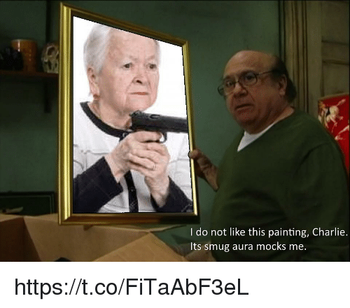 Charlie, Aura, and Painting: I do not like this painting, Charlie.  Its smug aura mocks me. https://t.co/FiTaAbF3eL