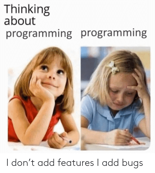 add: I don't add features I add bugs