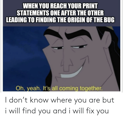 Will Find: I don't know where you are but i will find you and i will fix you
