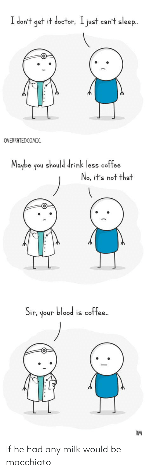 sir: I don't get it doctor, I just can't sleep.  OVERRATEDCOMIC  Maybe  should drink less coffee  noh  No, it's not that  blood is coffee.  Sir,  unoh  AM If he had any milk would be macchiato