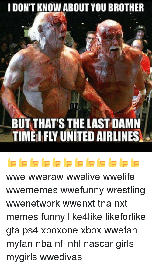 Funny, Girls, and Memes: I DONT KNOW ABOUT YOU BROTHER  BUT THATS THE LAST DAMN  TIME FLY UNITED AIRLINES 👍👍👍👍👍👍👍👍👍👍👍👍 wwe wweraw wwelive wwelife wwememes wwefunny wrestling wwenetwork wwenxt tna nxt memes funny like4like likeforlike gta ps4 xboxone xbox wwefan myfan nba nfl nhl nascar girls mygirls wwedivas