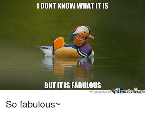 Memes, 🤖, and Com: I DONT KNOW WHAT IT IS  BUT IT IS FABULOUS  Menetenler  memecenter-com So fabulous~