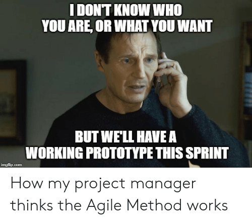 project manager: I DONT KNOW WHO  YOU ARE, OR WHAT YOU WANT  BUT WE'LL HAVEA  WORKING PROTOTYPE THIS SPRINT  imgilip.com How my project manager thinks the Agile Method works