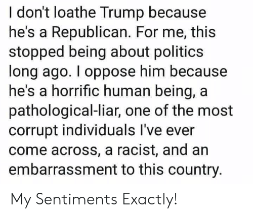 Politics, Trump, and Racist: I don't loathe Trump because  he's a Republican. For me, this  stopped being about politics  long ago. I oppose him because  he's a horrific human being, a  pathological-liar, one of the most  corrupt individuals I've ever  come across, a racist, and an  embarrassment to this country. My Sentiments Exactly!